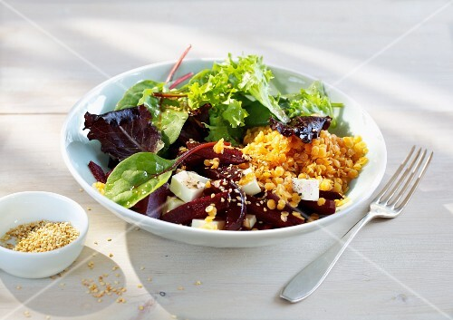 Quick lentil and beetroot salad with feta cheese