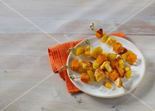 Sweet potato and mango skewers