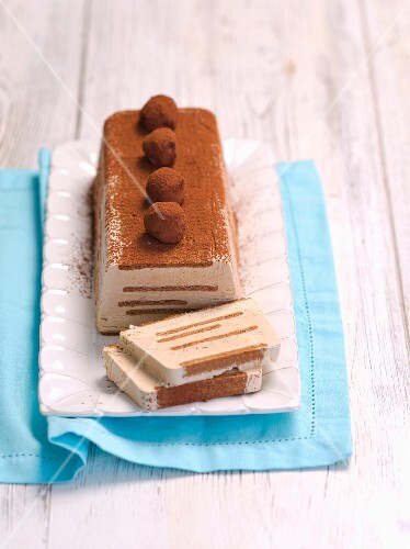 Frozen coffee and mascarpone terrine with biscuits and chocolate truffles
