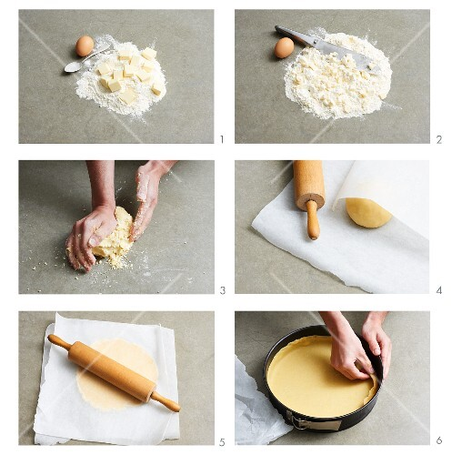 A shortcrust pastry base for quiche being made
