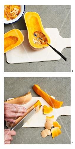 A butternut squash being prepared