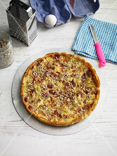Cheese and grape quiche