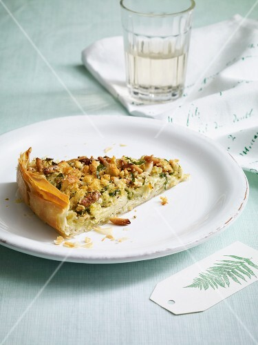A slice of artichoke quiche