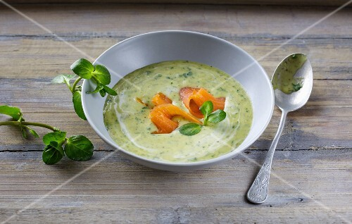 Water cress soup with smoked salmon