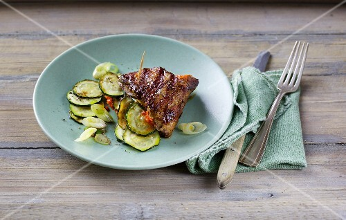 Stuffed point steak with courgette and ajvar