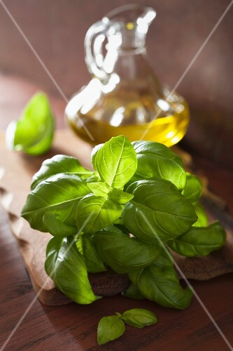 Fresh basil leaves and olive oil in a glass carafe