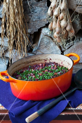 Lentil and beetroot stew with spring onions