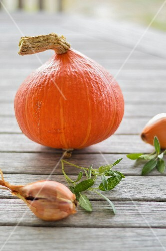 A pumpkin and an onion on a wooden table