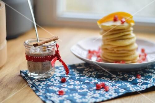 Cinnamon spread and pancakes for Christmas breakfast
