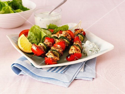Greek chicken, pepper and courgette kebabs with salad