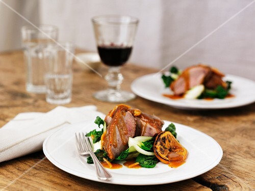 Duck a l'orange with red wine and bok choy