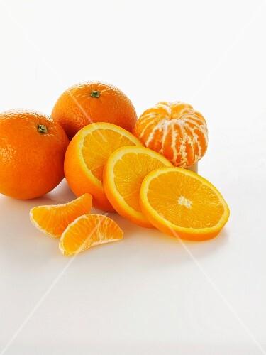 Orange and mandarin slices and segments