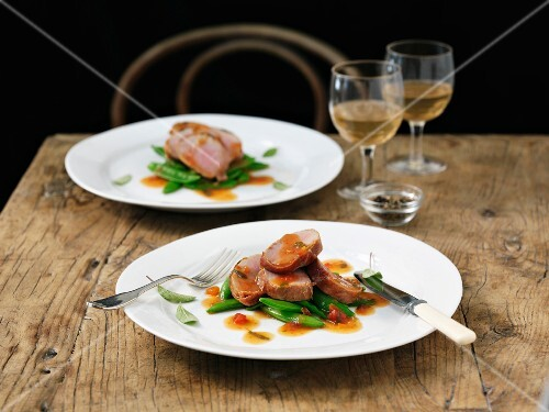 Pork saltimbocca with mange tout and sage