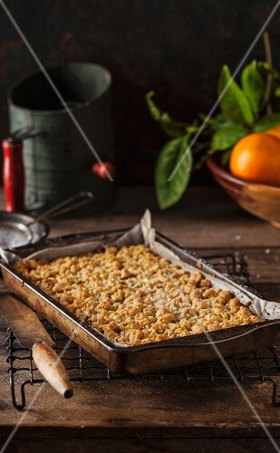 Shortbread crumble bars in a baking tray