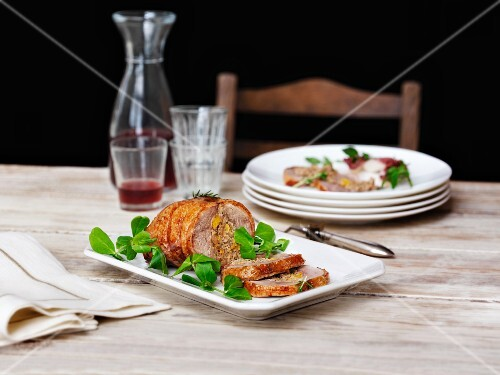 Stuffed duck breast with pea shoots