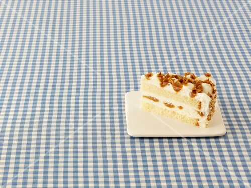 A slice of toffee cheesecake