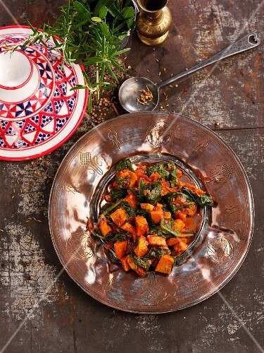 Sweet potato and spinach tagine (North Africa)