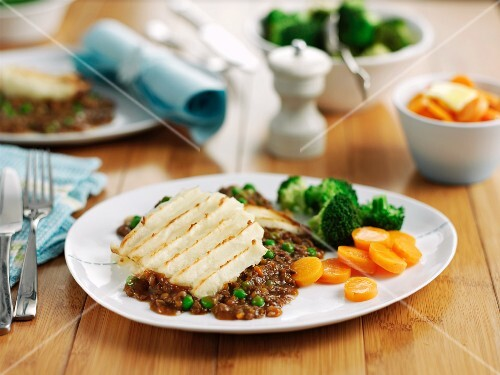 Cottage pie with a side of vegetables