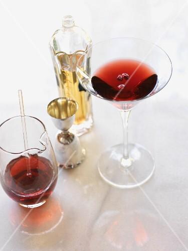 Pomegranate Martini with mixing beaker