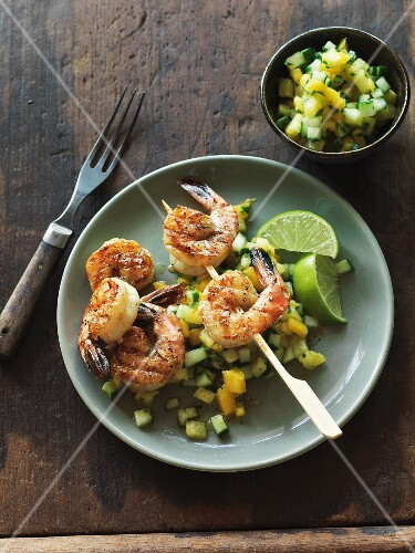 Grilled prawns with mango and cucumber salsa