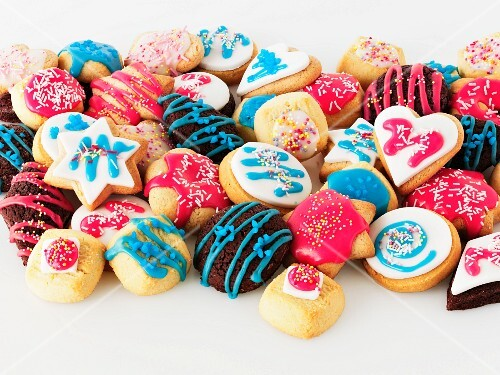 A selection of colourfully iced biscuits