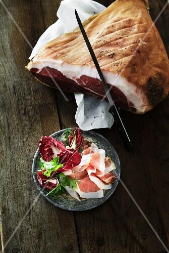 Serrano ham with radicchio and rocket