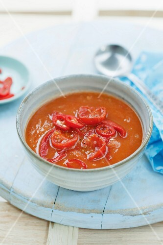Sweet potato and tomato soup with chilli