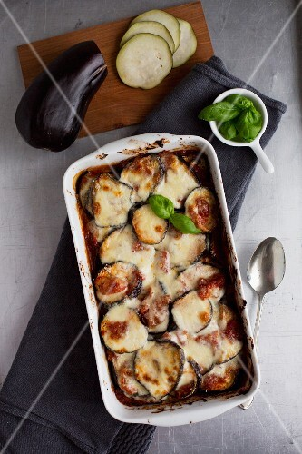 Aubergine bake with Bechamel sauce and basil