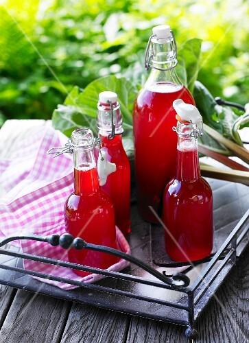 Homemade rhubarb juice in a flip-top bottle