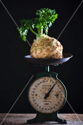 Celeriac on a pair of vintage scales