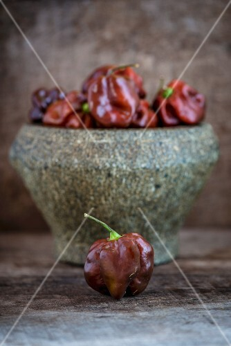 Habanero peppers in a large stone mortar