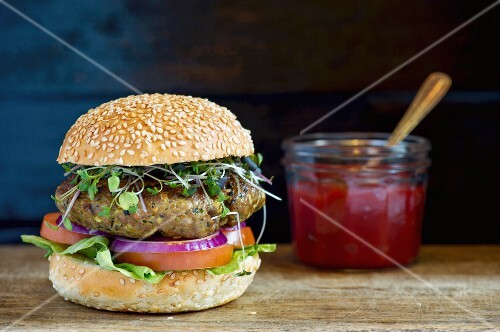 A lamb burger and ketchup