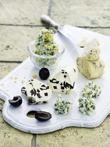 Herb butter with various herbs and olive butter