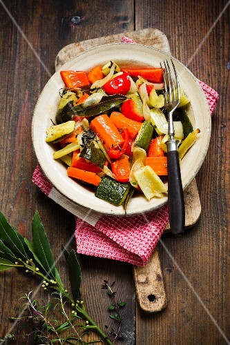 Oven-roasted vegetables with herbs
