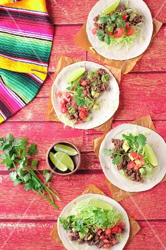 Tacos with minced meat, tomatoes and coriander (Mexico)