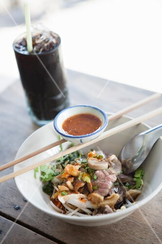 Rice noodles with beef and garlic, Thailand