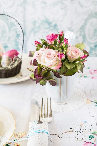 Posy of roses decorating Easter table