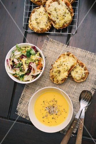 Butternut squash soup, cheese bread and a mixed salad