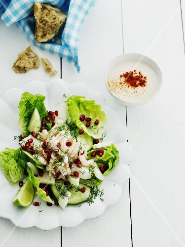 Cos lettuce with cucumber, shrimps, dill and pomegranate seeds served with yoghurt vinaigrette