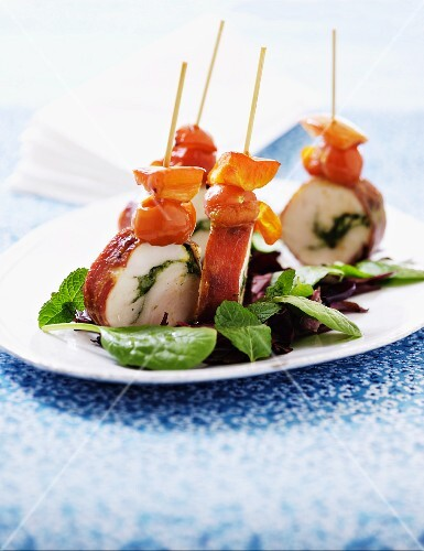 Chicken and ham roulade skewers