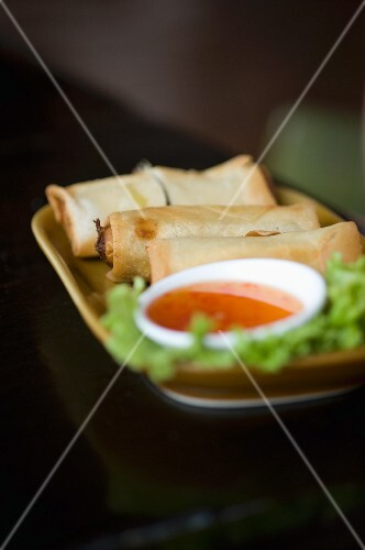 Spring rolls with a dip at a market in China Town (Bangkok, Thailand)