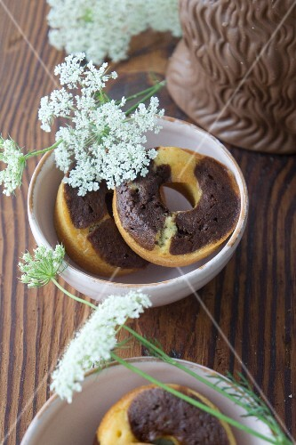 Marbled doughnuts with chervil