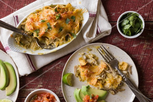 Gratinated enchiladas with chicken and cheese