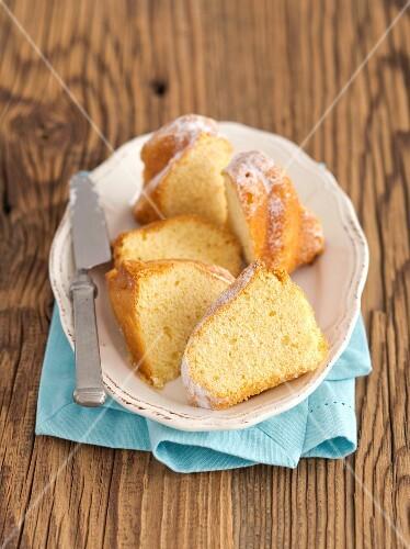 Slices of Bundt cake on a plate