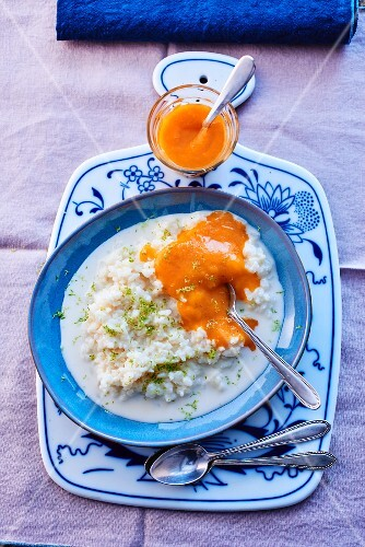 Rice pudding with mango coulis