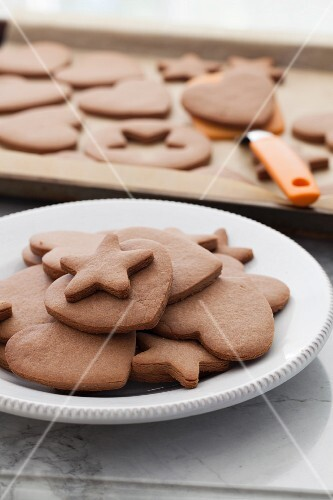 Peanut butter and chocolate biscuits shaped like hearts and stars