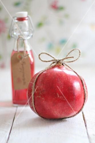 A pomegranate and pomegranate juice
