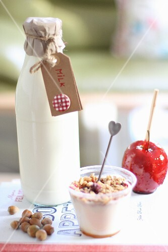 Milk with yogurt and a toffee apple