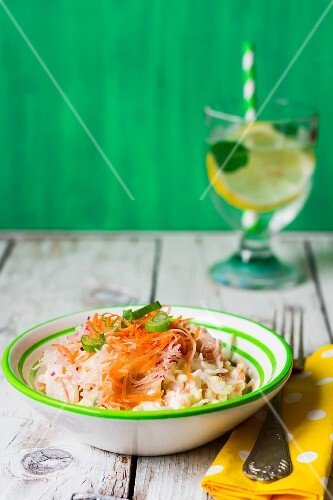 Rice salad with carrots and radishes