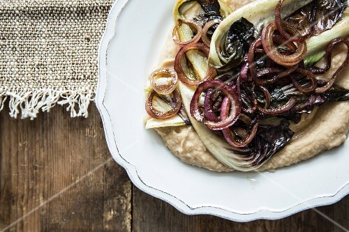 Braised radicchio with onions and bean purée